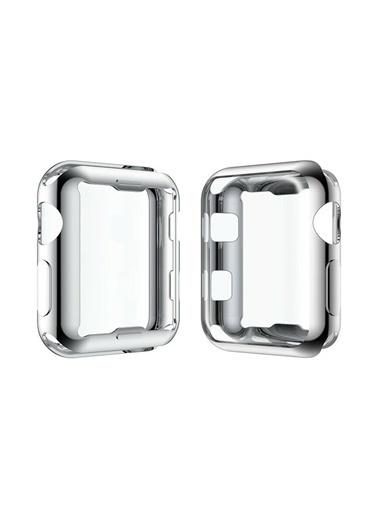 Techmaster Apple Watch 44 mm Silikon Kapak Kılıf Ekran Koruyucu Gri